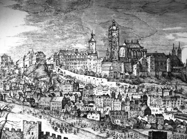 Пражский град, 1607 год. Слева от Собора св. Вита видна Белая башня