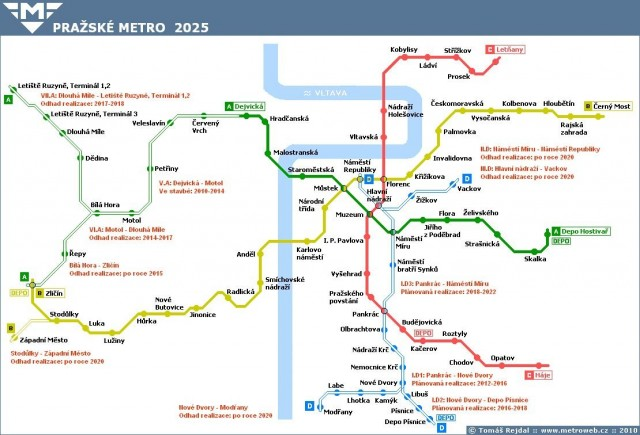 Пражский метрополитен в 2025 году