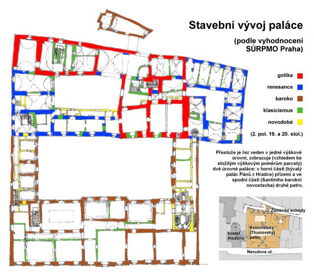 План дворца с указаниями архитектурных стилей