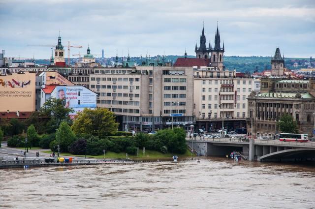 Наводнение 2013 г. в Праге. Штефаников мост.