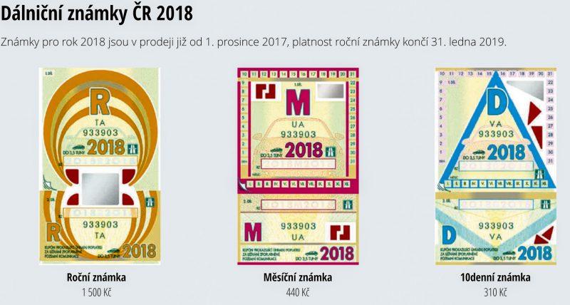 Дорожные марки в Чехии