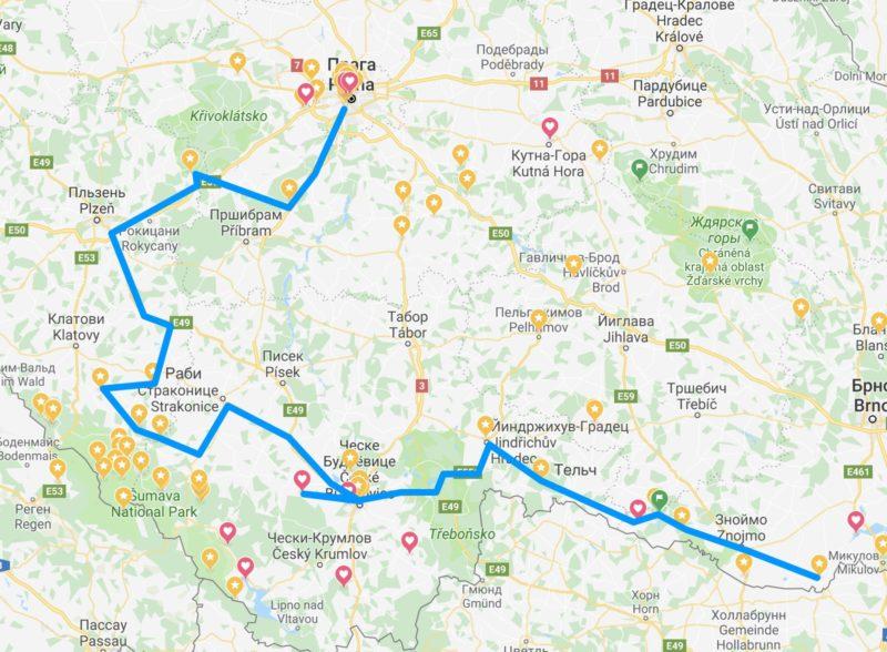 2 часть – маршрут по югу Чехии