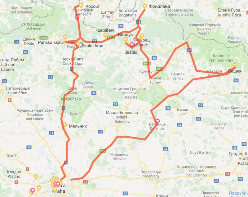 1 часть – маршрут на север Чехии